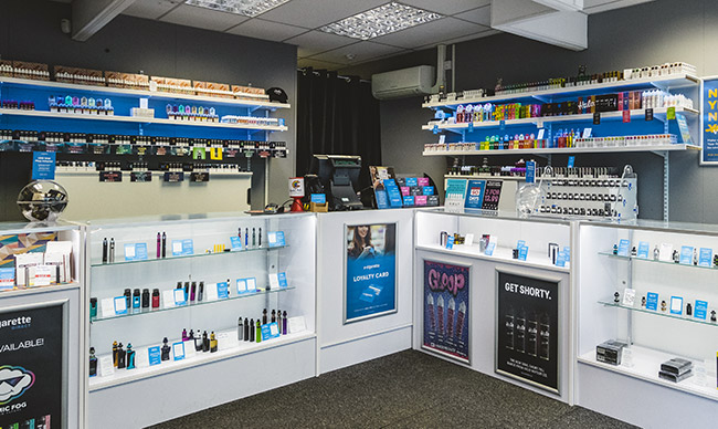 Inside an E-cigarette Direct shop